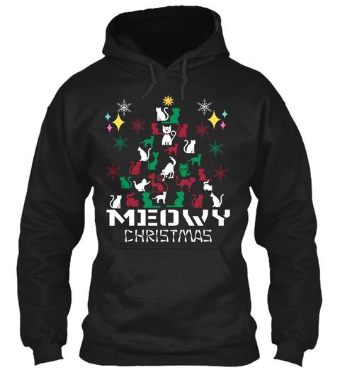 Meowy Christmas Black T-Shirt Front