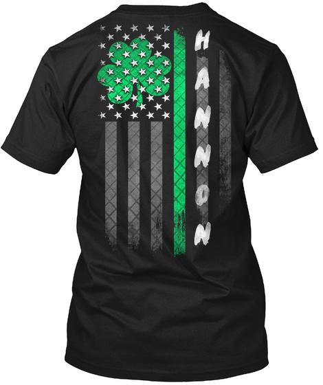 Hannon: Lucky Family Clover Flag Black T-Shirt Back