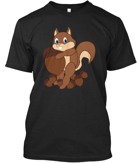 Eichhörnchen T Shirt Für Tierliebhaber Black T-Shirt Front
