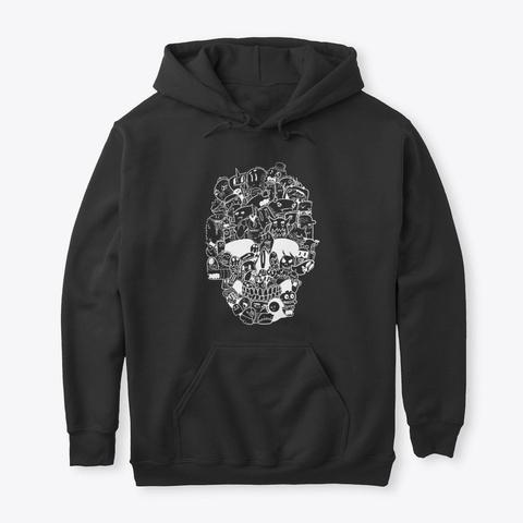 Skull Doodle Black Shirt/Hoodie Black T-Shirt Front