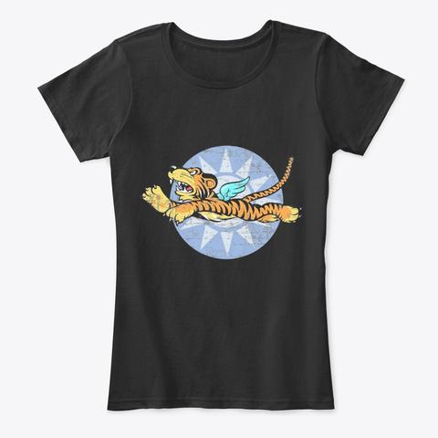 Tiger Lover | Flying Tiger Black T-Shirt Front