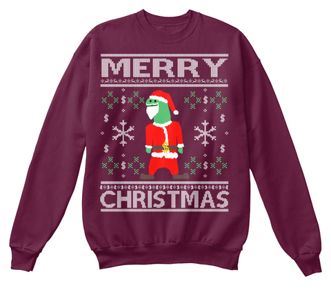 Merry Christmas Maroon  T-Shirt Front