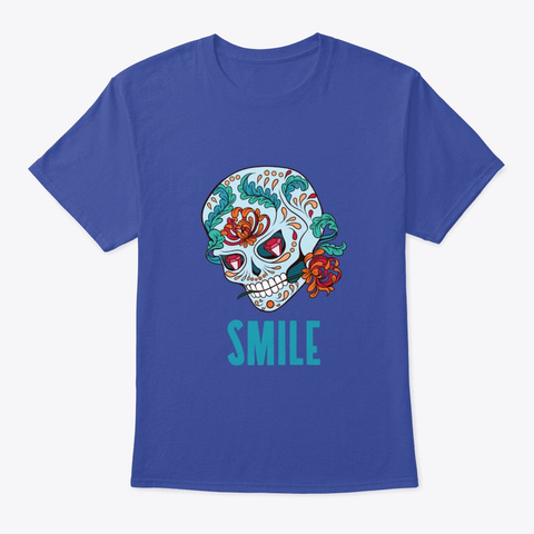 Halloween Sugar Skull With Flowers Deep Royal T-Shirt Front