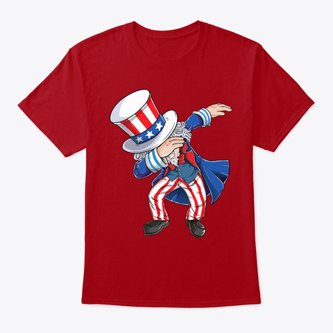 Dabbing Uncle Sam T Shirt 4th Of July  Deep Red T-Shirt Front