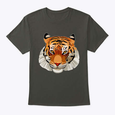 Awesome Realistic Tiger Cool For Big Cat Smoke Gray T-Shirt Front