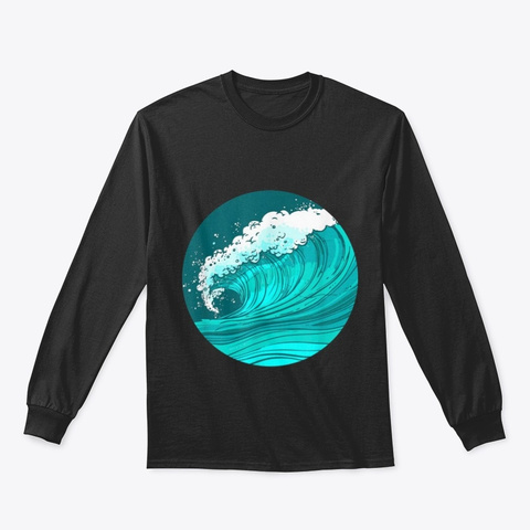 Ocean Sea Wave Surf T Shirt Black T-Shirt Front