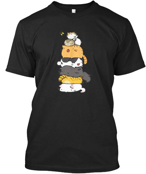 Cute Cats Black T-Shirt Front
