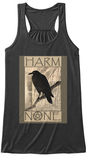 Harm None Dark Grey Heather Women's Tank Top Front