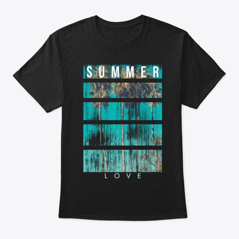 Summer Love. Black T-Shirt Front