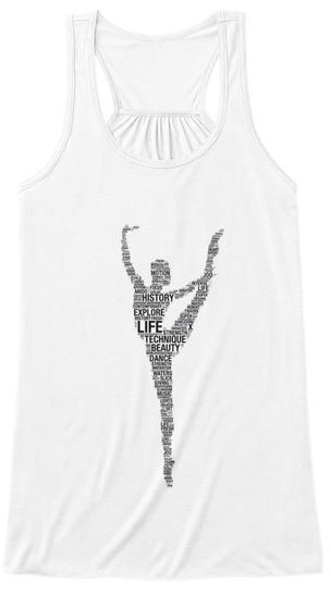 Ballerina Letters Line White Women's Tank Top Front