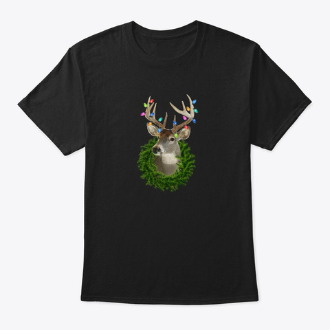 Christmas Holiday Whitetail Deer Wreath Black T-Shirt Front