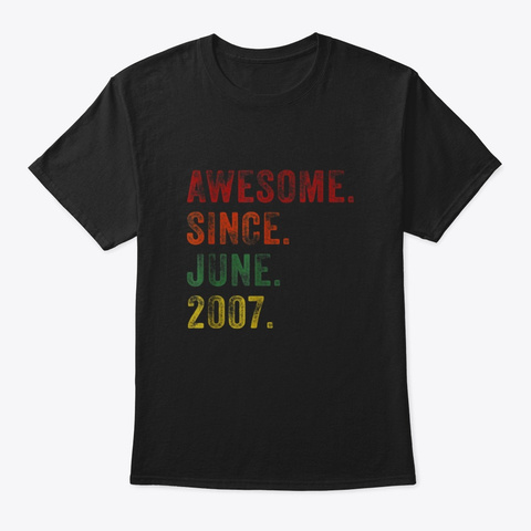 Awesome Since June 2007 12th Birthday Black T-Shirt Front