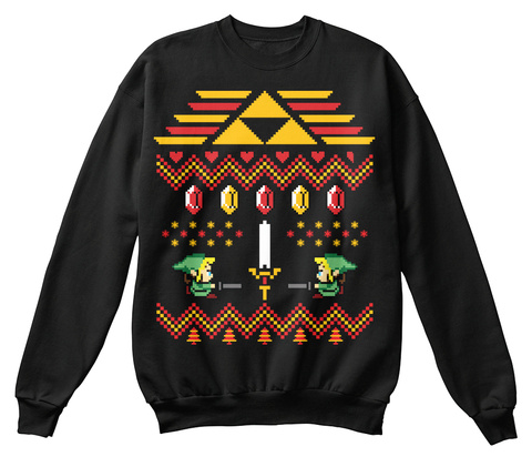 legend of zelda christmas sweater black sweatshirt front - Legend Of Zelda Christmas Sweater