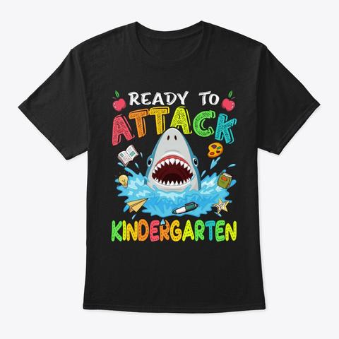 Ready To Attack Kindergarten Shark Black T-Shirt Front