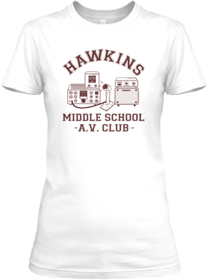 Hawkins Av Club White T-Shirt Front