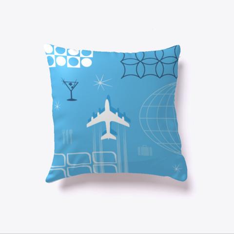 Mid Century Retro Blue Style Pillow Denim Blue T-Shirt Back