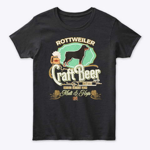 Rottweiler Gifts Dog Beer Lover Black T-Shirt Front