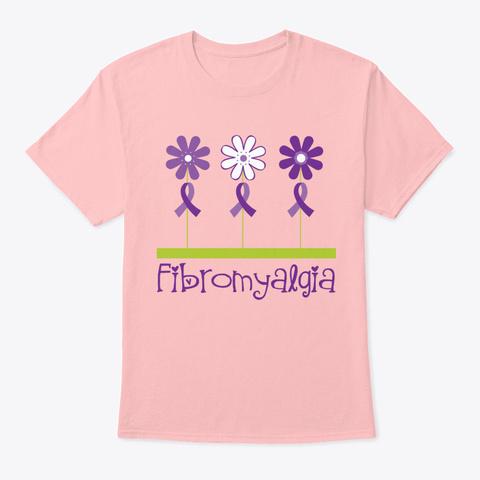 Fibromyalgia Awareness Ribbon Flowers Pale Pink T-Shirt Front