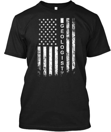 American Flag Geologist Shirt Black T-Shirt Front