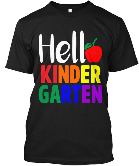 Hello Kinder Garten Black T-Shirt Front