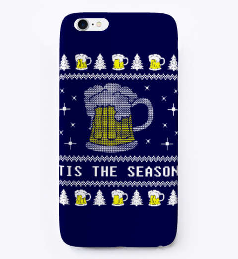 Beer Ugly Christmas Phone Case Dark Navy T-Shirt Front