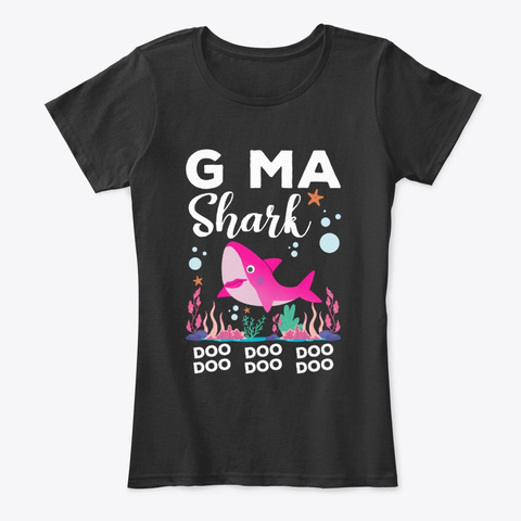 G Ma Shark Doo Doo Doo  Black T-Shirt Front