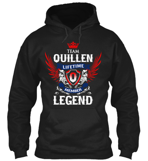 Team Quillen Lifetime Member Legend Black T-Shirt Front
