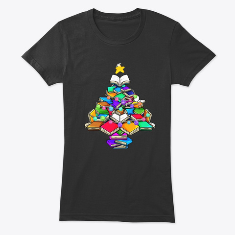 Christmas Tree Of Books Vintage Black T-Shirt Front