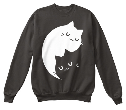 Yin Yang Cat Shirt Jet Black T-Shirt Front