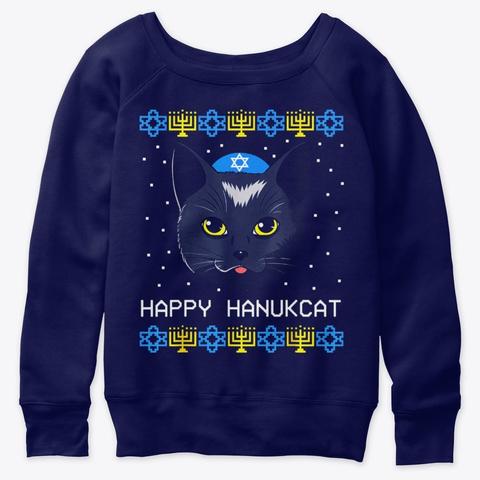 Happy Hanukcat Ugly Hanukkah Sweater Cat Navy  T-Shirt Front