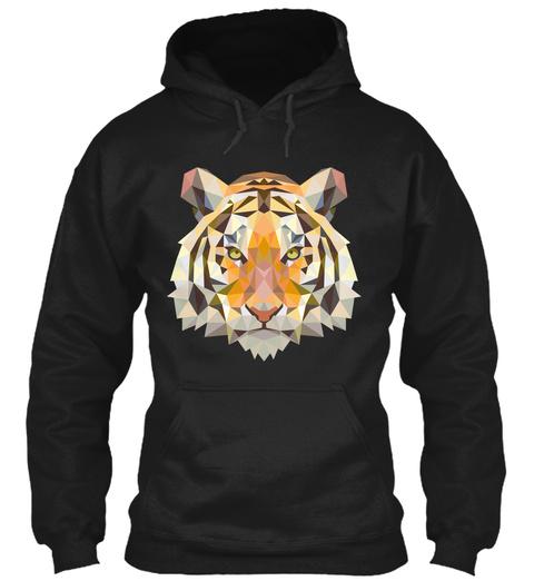 Tiger Hoodies, Tiger Unique Design Hoodie Black T-Shirt Front