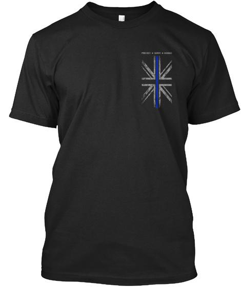 Thin Blue Line   Protect, Serve, Honour Black T-Shirt Front