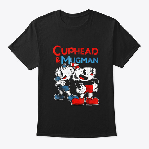 Cuphead Mugman Dynamic Duo Graphic T Black T-Shirt Front