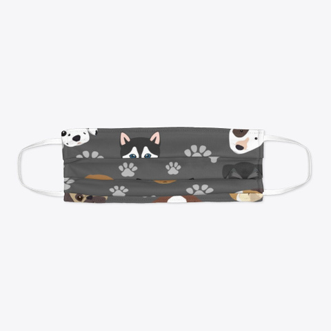 Dog Face Covering 2 Charcoal T-Shirt Flat