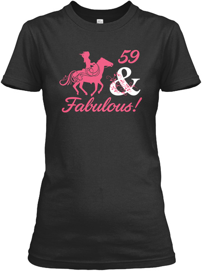 Horse   59 Year Of Being Awesome Black T-Shirt Front