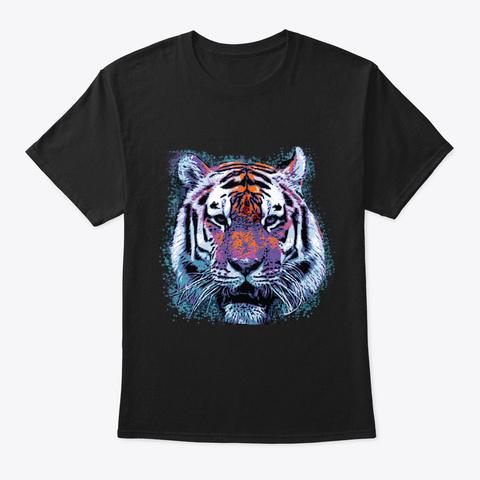 Retro 80s Tiger Face Splatter Paint Black T-Shirt Front