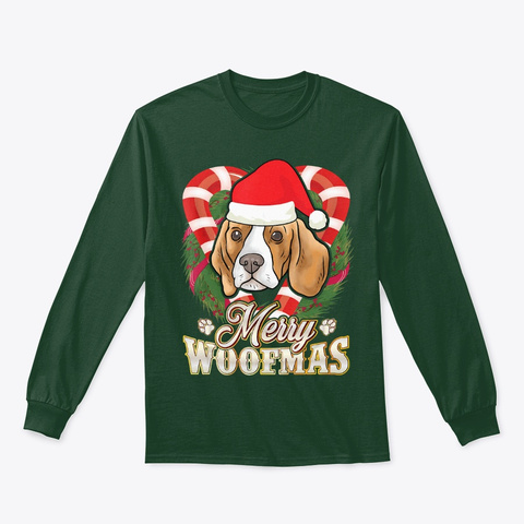 Merry Woofmas Beagle With Santa Claus Forest Green T-Shirt Front