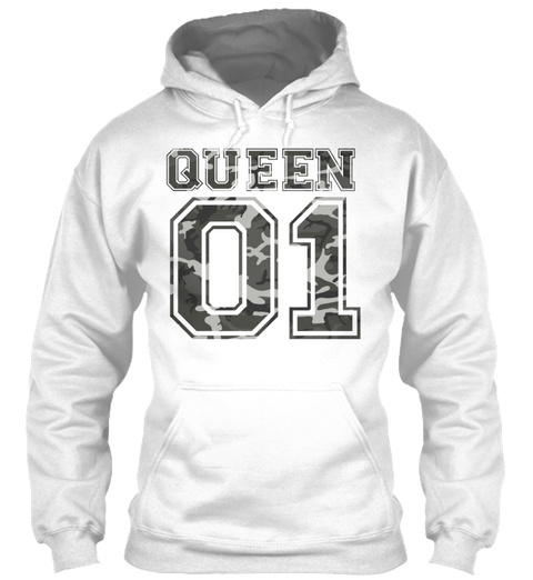 Queen 01 Camo 1 White T-Shirt Front
