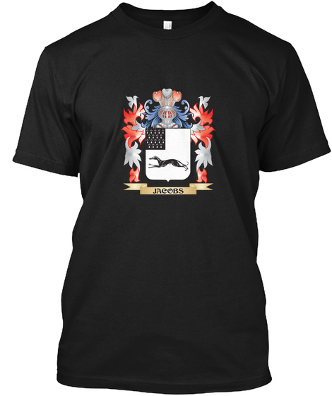 Jacobs Coat Of Arms   Family Crest Black T-Shirt Front