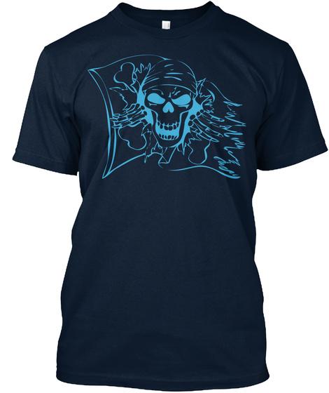 Tshirt Pirate Skull Flag New Navy T-Shirt Front