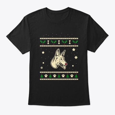Christmas Pharaoh Hound Gift Black T-Shirt Front