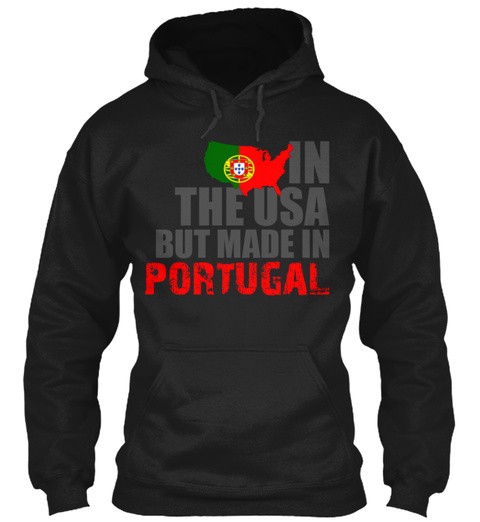 In The Usa But Made In Portugal Black T-Shirt Front