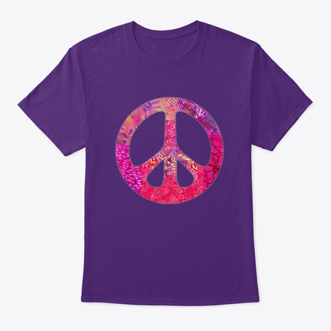 Pink  Batik Peace Sign  Purple T-Shirt Front