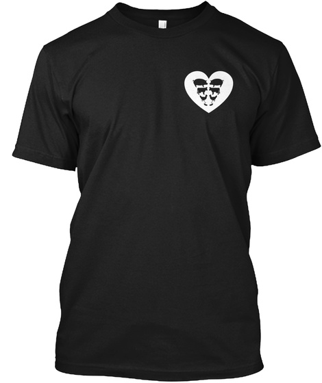Farm Animals In Heart Front Black T-Shirt Front