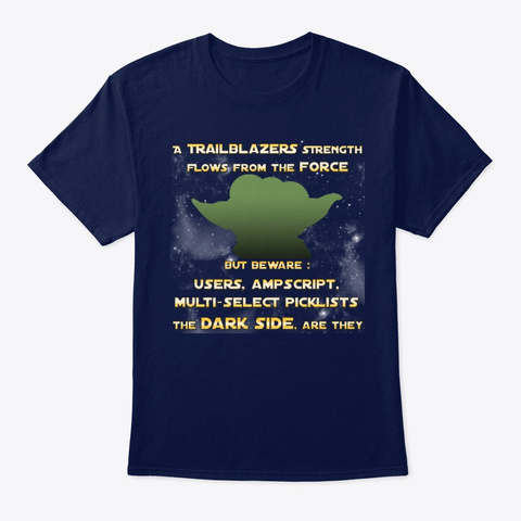 Beware The Dark Side Of The Force Navy T-Shirt Front