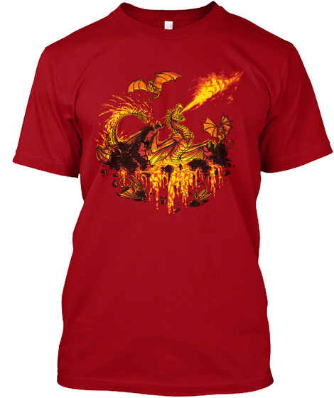 U Realms   Den Of Devils [Official] Deep Red T-Shirt Front