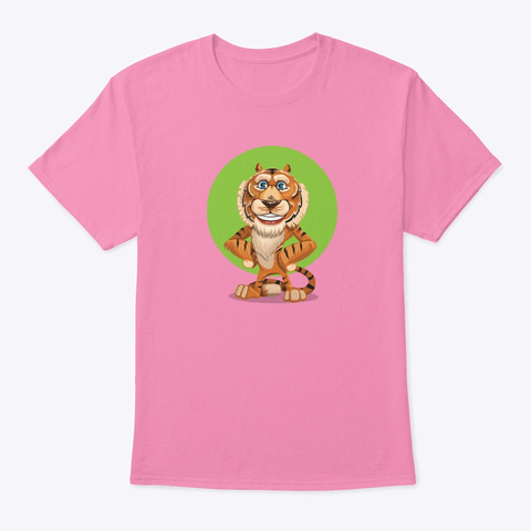Smiling Tiger Funny T Shirt Pink T-Shirt Front