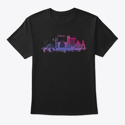 Lovely Dublin Skyline Watercolor Style Black T-Shirt Front