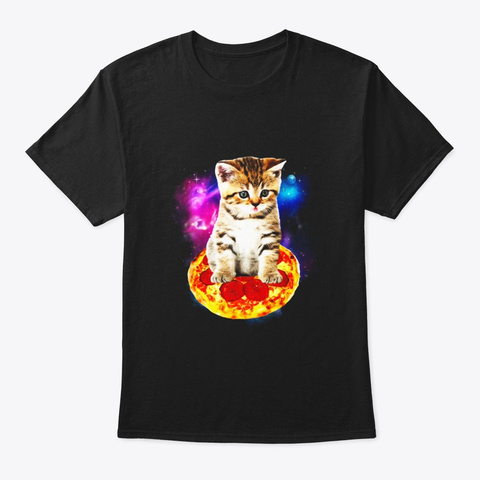 Funny Galaxy Cat Shirt Space Cat Eat Black T-Shirt Front