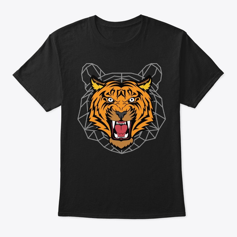 Tiger Geometric Abstract Artistic Gift Black T-Shirt Front